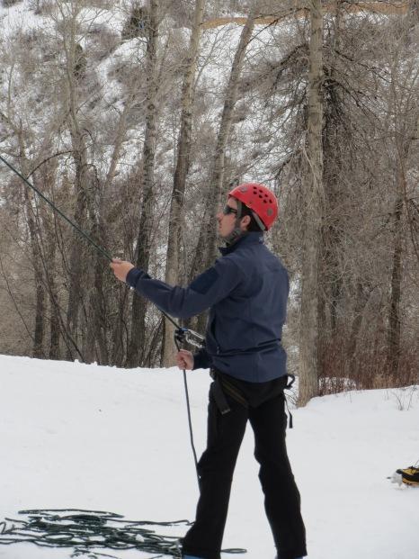 Aspen, Colorado - Ice Climbing Belay.