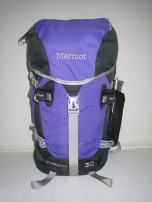 Front view of pack with added mesh pocket on right side